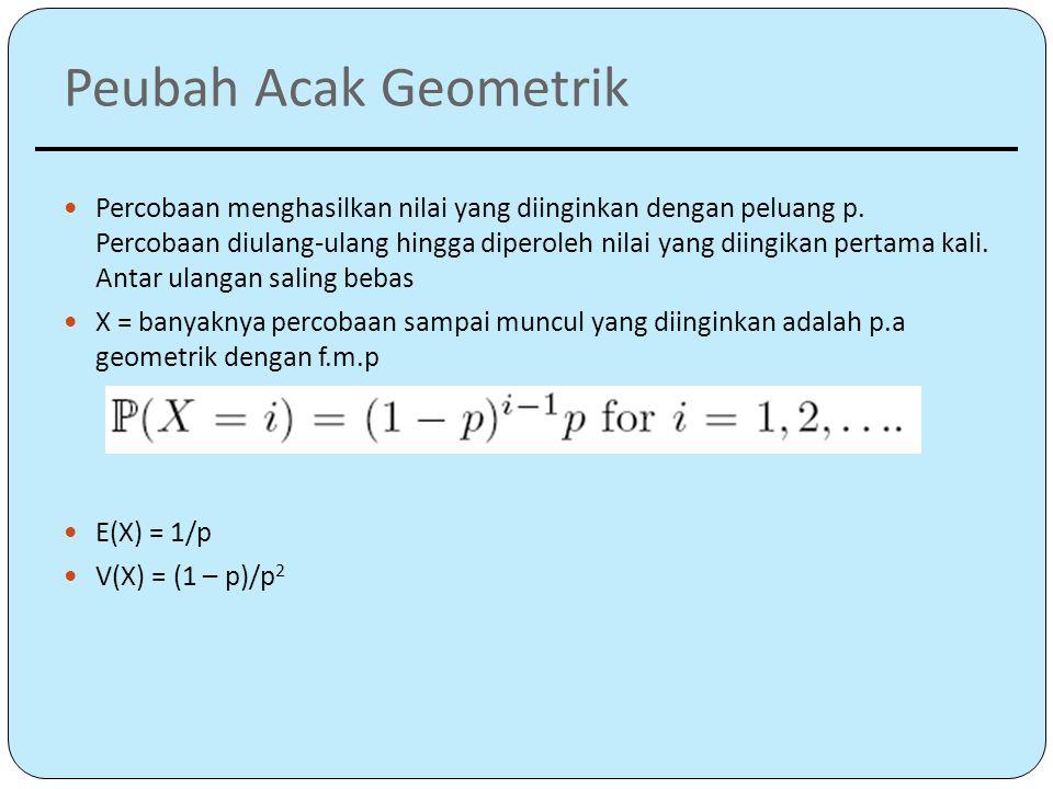 Peubah Acak Geometrik Percobaan menghasilkan nilai yang diinginkan dengan peluang p.