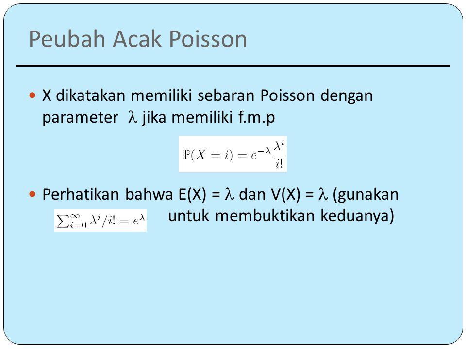 Peubah Acak Poisson X dikatakan memiliki sebaran Poisson dengan parameter  jika memiliki f.m.p Perhatikan bahwa E(X) = dan V(X) = (gunakan untuk membuktikan keduanya)