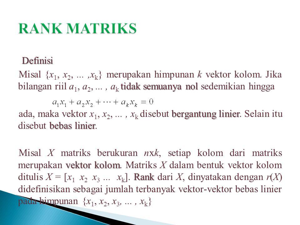 Definisi tidak semuanya nol Misal {x 1, x 2,...,x k } merupakan himpunan k vektor kolom. Jika bilangan riil a 1, a 2,..., a k tidak semuanya nol sedem
