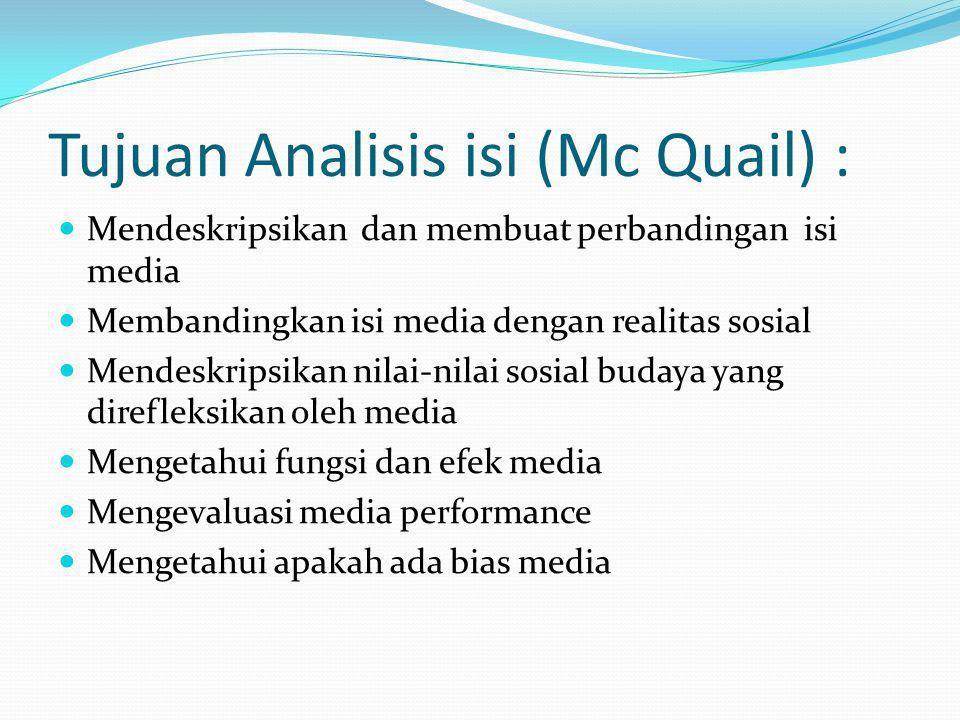 Tujuan Analisis isi (Mc Quail) : Mendeskripsikan dan membuat perbandingan isi media Membandingkan isi media dengan realitas sosial Mendeskripsikan nil