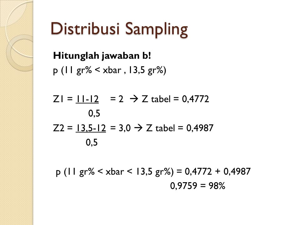 Distribusi Sampling Hitunglah jawaban b.