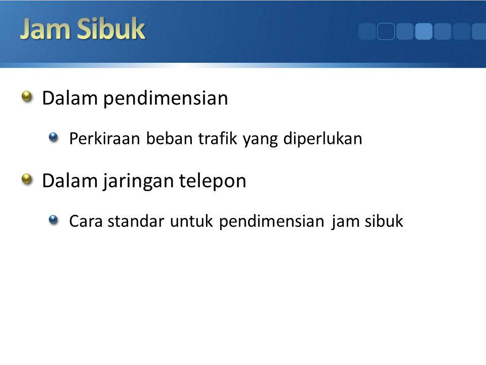 Dalam pendimensian Perkiraan beban trafik yang diperlukan Dalam jaringan telepon Cara standar untuk pendimensian jam sibuk