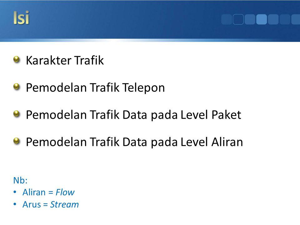 Karakter Trafik Pemodelan Trafik Telepon Pemodelan Trafik Data pada Level Paket Pemodelan Trafik Data pada Level Aliran Nb: Aliran = Flow Arus = Strea