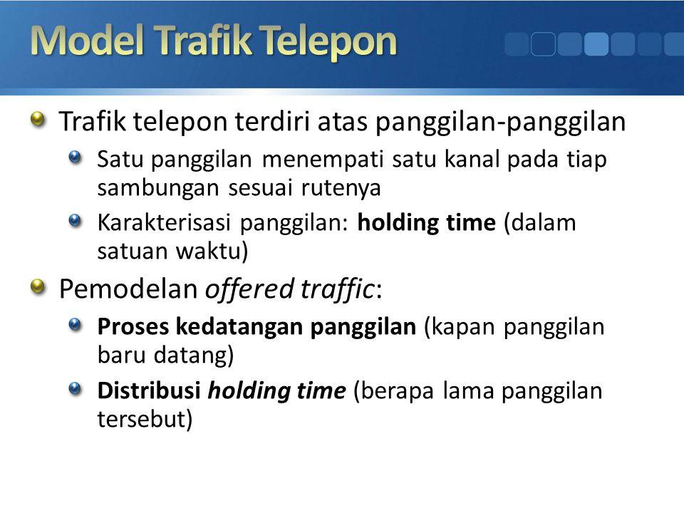 Trafik telepon terdiri atas panggilan-panggilan Satu panggilan menempati satu kanal pada tiap sambungan sesuai rutenya Karakterisasi panggilan: holdin