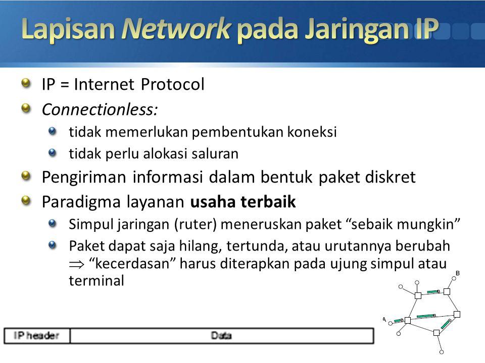 IP = Internet Protocol Connectionless: tidak memerlukan pembentukan koneksi tidak perlu alokasi saluran Pengiriman informasi dalam bentuk paket diskre