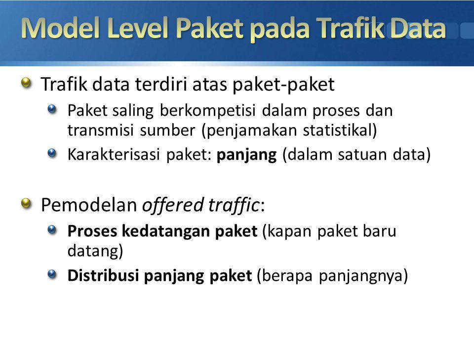 Trafik data terdiri atas paket-paket Paket saling berkompetisi dalam proses dan transmisi sumber (penjamakan statistikal) Karakterisasi paket: panjang