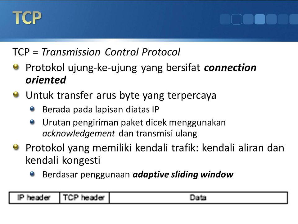 TCP = Transmission Control Protocol Protokol ujung-ke-ujung yang bersifat connection oriented Untuk transfer arus byte yang terpercaya Berada pada lap