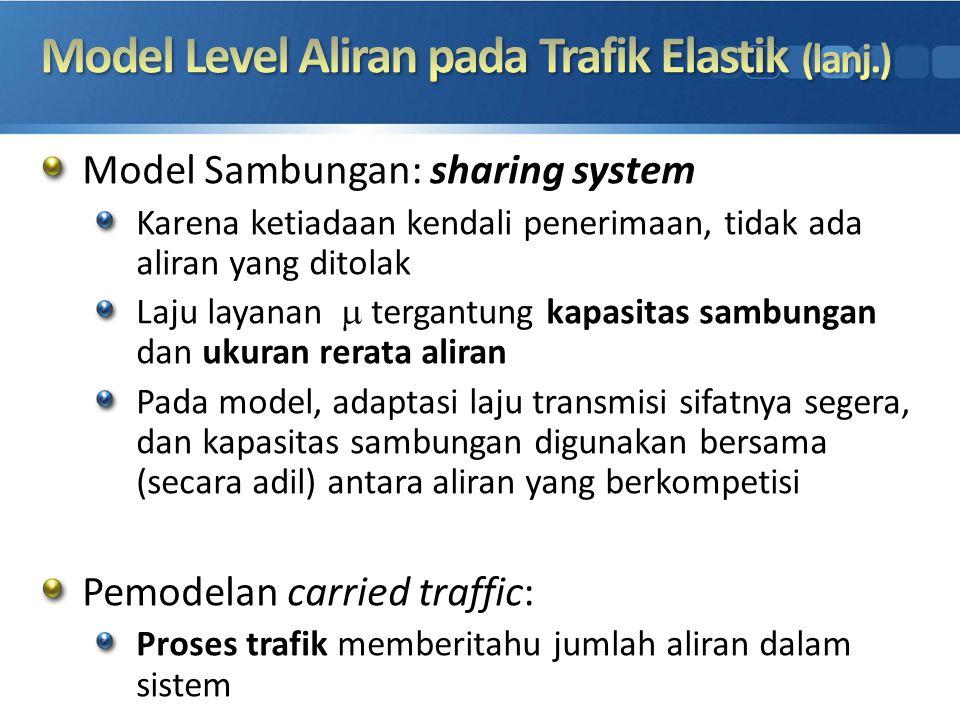 Model Sambungan: sharing system Karena ketiadaan kendali penerimaan, tidak ada aliran yang ditolak Laju layanan  tergantung kapasitas sambungan dan
