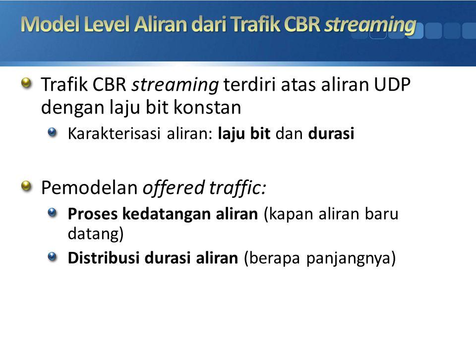 Trafik CBR streaming terdiri atas aliran UDP dengan laju bit konstan Karakterisasi aliran: laju bit dan durasi Pemodelan offered traffic: Proses kedat