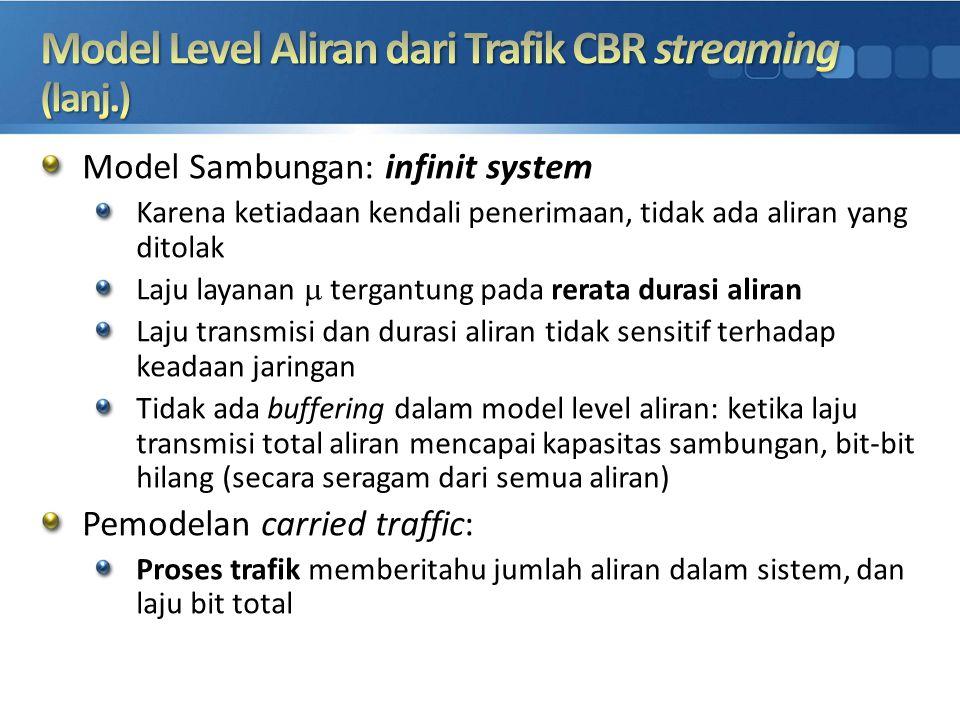 Model Sambungan: infinit system Karena ketiadaan kendali penerimaan, tidak ada aliran yang ditolak Laju layanan  tergantung pada rerata durasi aliran