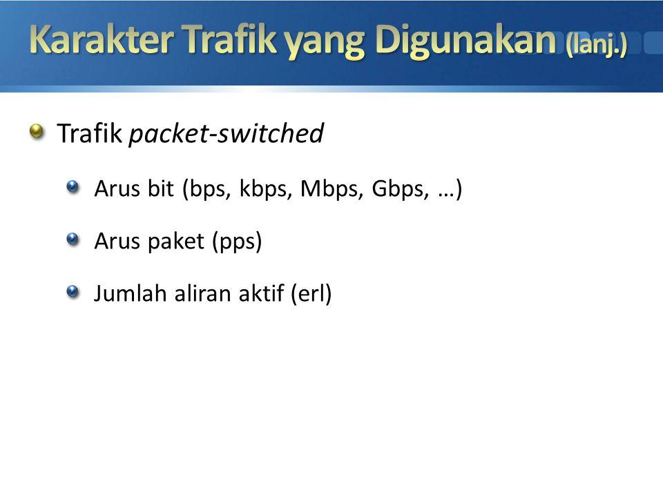 Trafik packet-switched Arus bit (bps, kbps, Mbps, Gbps, …) Arus paket (pps) Jumlah aliran aktif (erl)