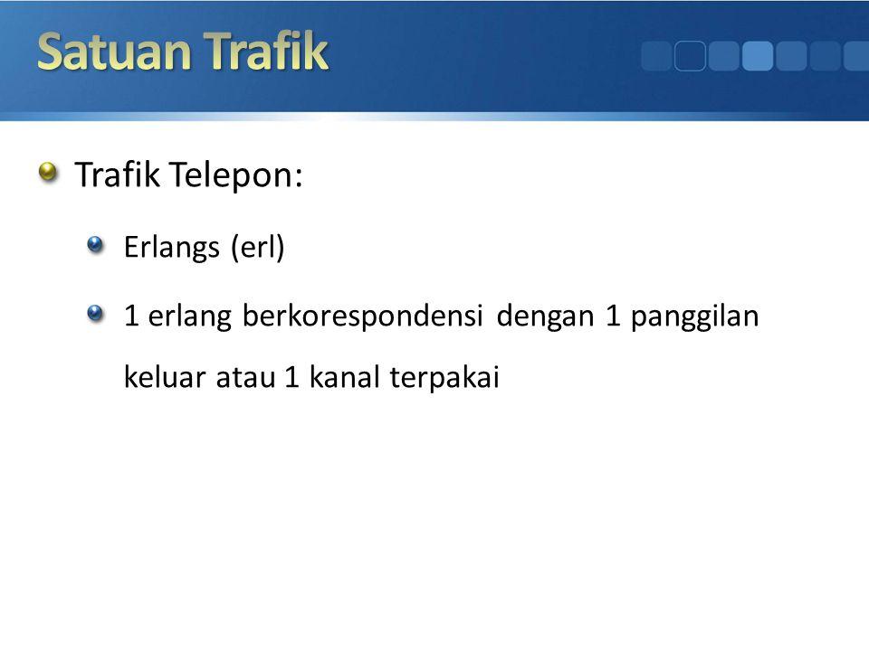 Trafik Telepon: Erlangs (erl) 1 erlang berkorespondensi dengan 1 panggilan keluar atau 1 kanal terpakai