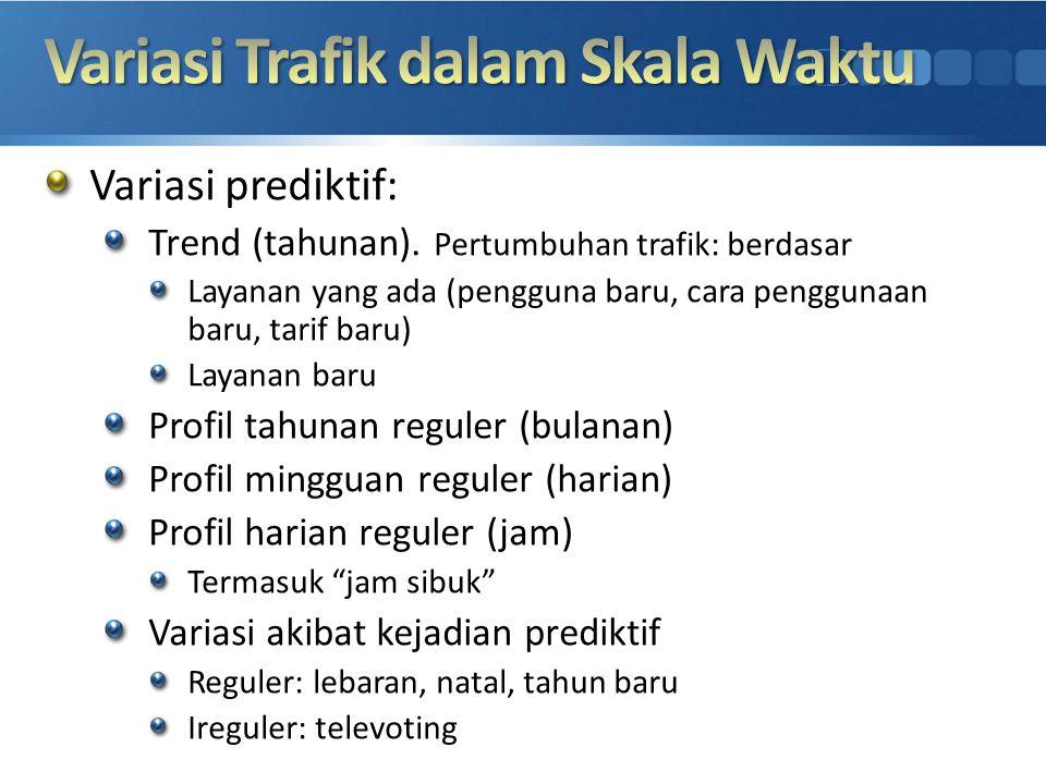 Variasi prediktif: Trend (tahunan). Pertumbuhan trafik: berdasar Layanan yang ada (pengguna baru, cara penggunaan baru, tarif baru) Layanan baru Profi