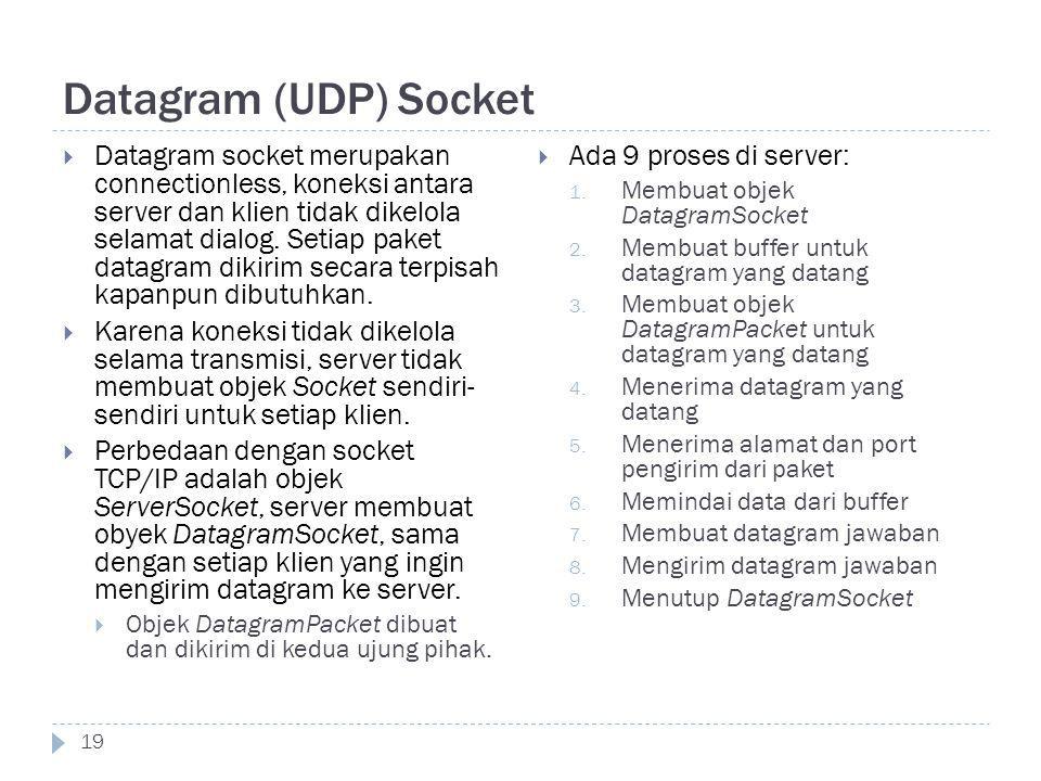 Datagram (UDP) Socket 19  Datagram socket merupakan connectionless, koneksi antara server dan klien tidak dikelola selamat dialog. Setiap paket datag