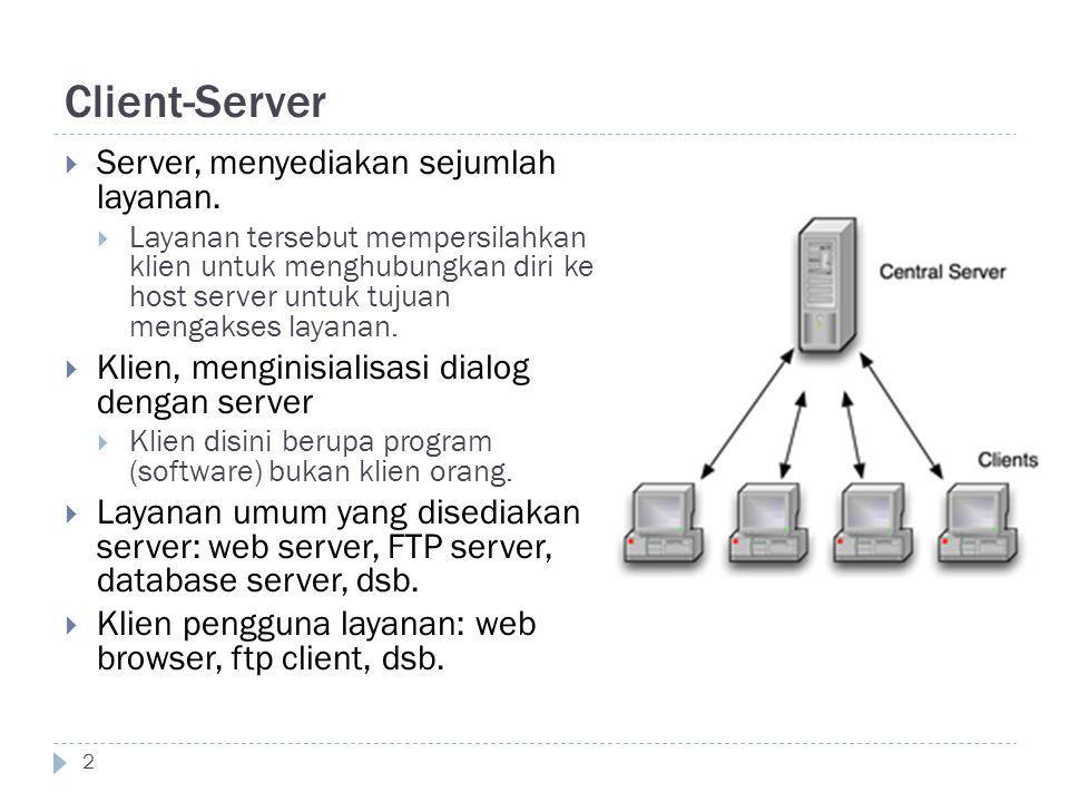 Client-Server 2  Server, menyediakan sejumlah layanan.  Layanan tersebut mempersilahkan klien untuk menghubungkan diri ke host server untuk tujuan m