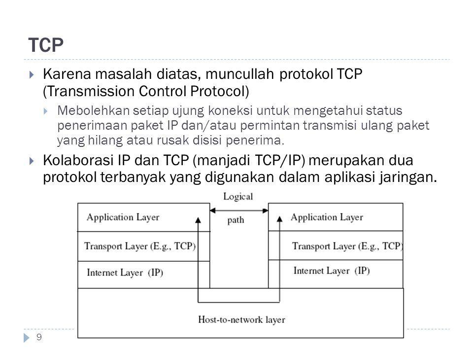TCP 9  Karena masalah diatas, muncullah protokol TCP (Transmission Control Protocol)  Mebolehkan setiap ujung koneksi untuk mengetahui status peneri