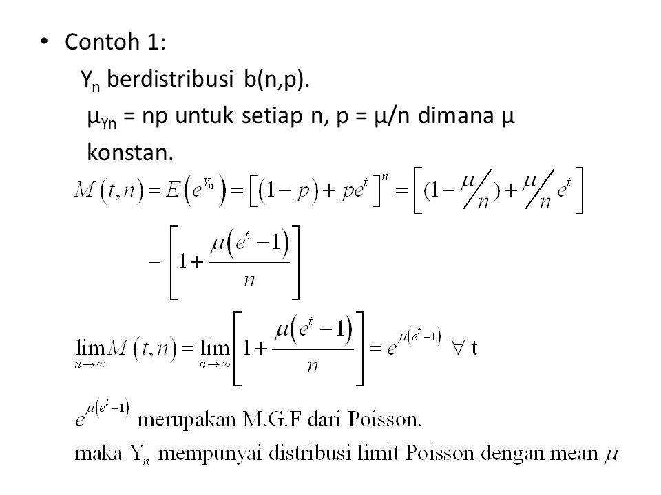 Contoh 1: Y n berdistribusi b(n,p). µ Yn = np untuk setiap n, p = µ/n dimana µ konstan.