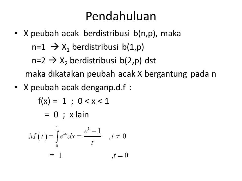 Pendahuluan X peubah acak berdistribusi b(n,p), maka n=1  X 1 berdistribusi b(1,p) n=2  X 2 berdistribusi b(2,p) dst maka dikatakan peubah acak X be