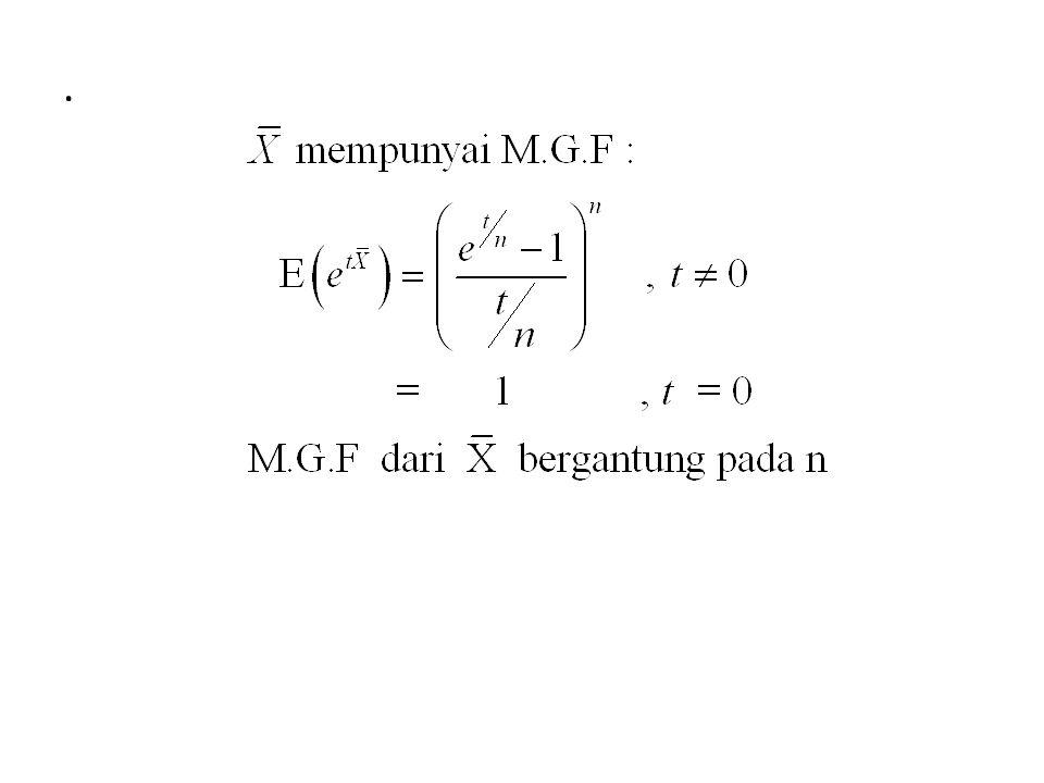 5.1 Konvergen dalam Distribusi Definisi: Misalnya F n (y) adalah fungsi distribusi dari variabel acak Y n, n=1,2,…,n.