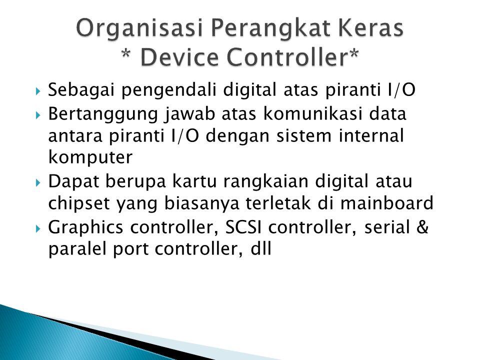  Sebagai pengendali digital atas piranti I/O  Bertanggung jawab atas komunikasi data antara piranti I/O dengan sistem internal komputer  Dapat berupa kartu rangkaian digital atau chipset yang biasanya terletak di mainboard  Graphics controller, SCSI controller, serial & paralel port controller, dll