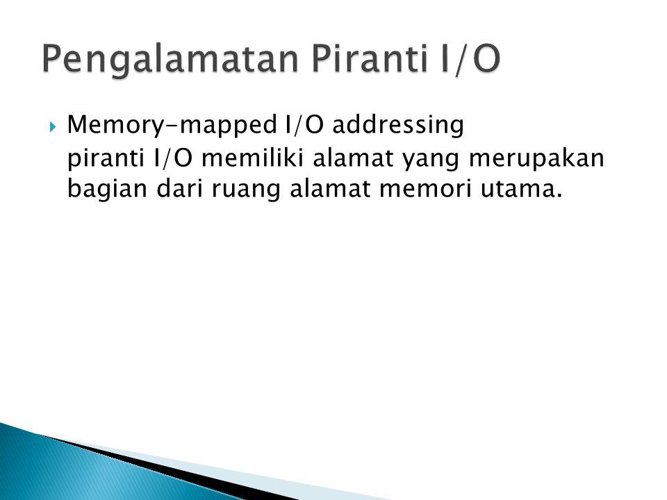  Memory-mapped I/O addressing piranti I/O memiliki alamat yang merupakan bagian dari ruang alamat memori utama.