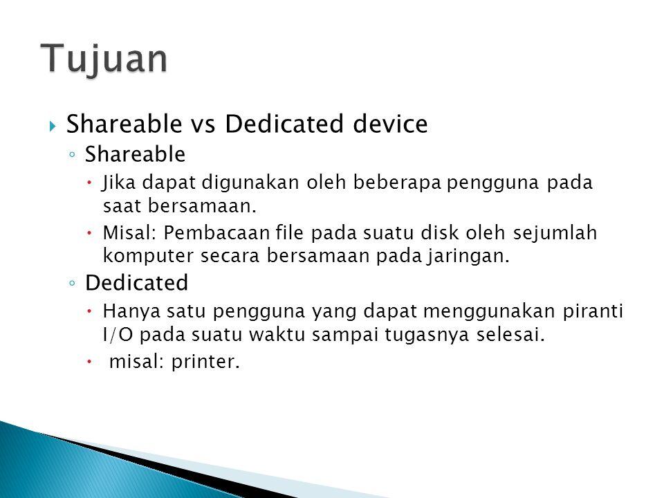  Shareable vs Dedicated device ◦ Shareable  Jika dapat digunakan oleh beberapa pengguna pada saat bersamaan.