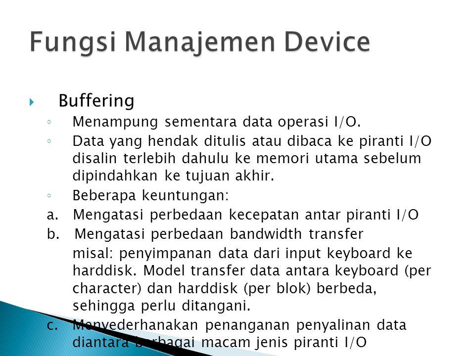  Buffering ◦ Menampung sementara data operasi I/O.