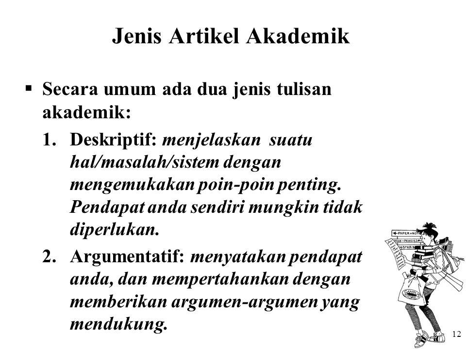 Jenis Artikel Akademik  Secara umum ada dua jenis tulisan akademik: 1.Deskriptif: menjelaskan suatu hal/masalah/sistem dengan mengemukakan poin-poin