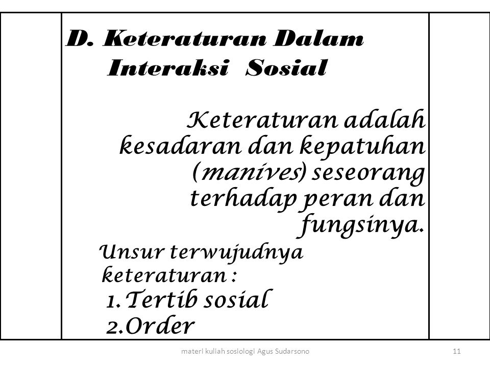 D. Keteraturan Dalam Interaksi Sosial Keteraturan adalah kesadaran dan kepatuhan (manives) seseorang terhadap peran dan fungsinya. Unsur terwujudnya k