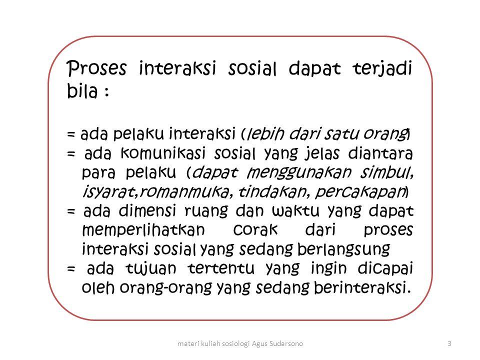 Proses interaksi sosial dapat terjadi bila : = ada pelaku interaksi (lebih dari satu orang) = ada komunikasi sosial yang jelas diantara para pelaku (d