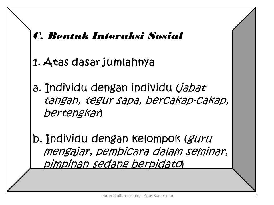 C. Bentuk Interaksi Sosial 1.Atas dasar jumlahnya a. Individu dengan individu (jabat tangan, tegur sapa, bercakap-cakap, bertengkar) b. Individu denga