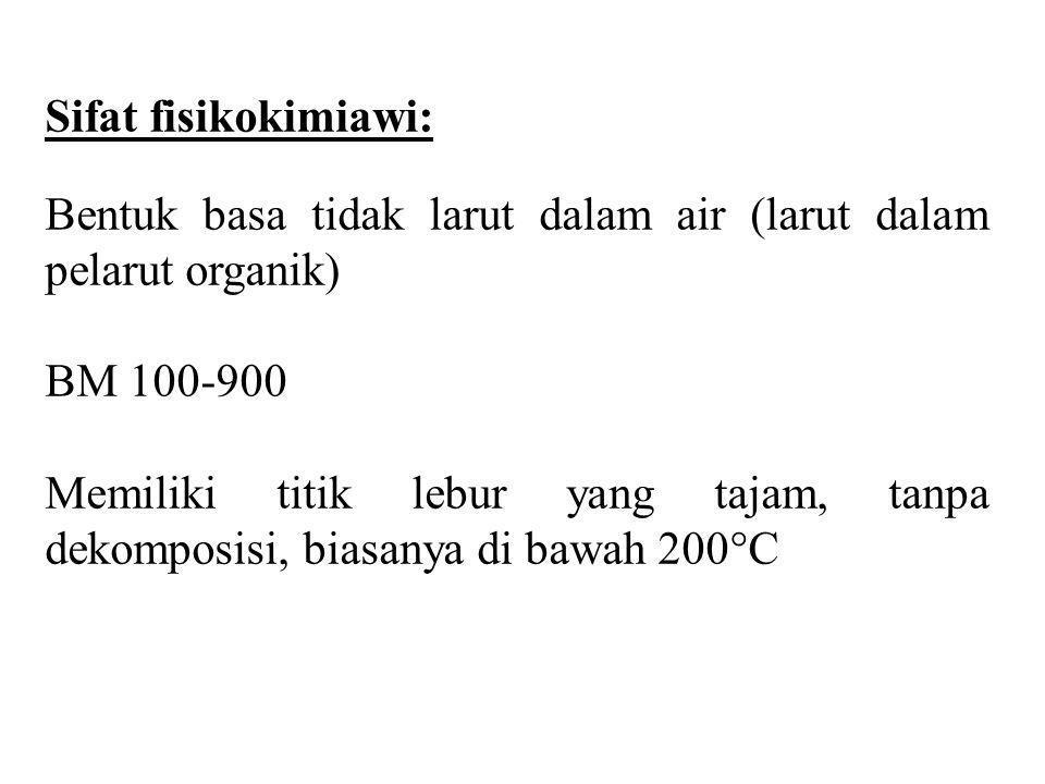 Sifat fisikokimiawi: Bentuk basa tidak larut dalam air (larut dalam pelarut organik) BM 100-900 Memiliki titik lebur yang tajam, tanpa dekomposisi, bi
