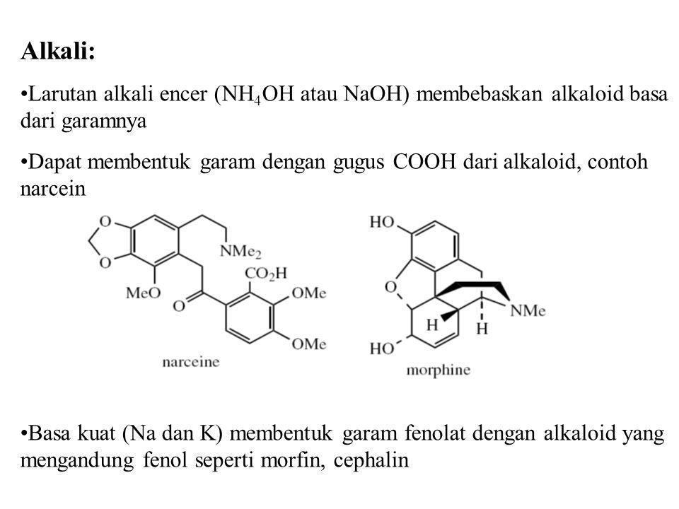 Alkali: Larutan alkali encer (NH 4 OH atau NaOH) membebaskan alkaloid basa dari garamnya Dapat membentuk garam dengan gugus COOH dari alkaloid, contoh