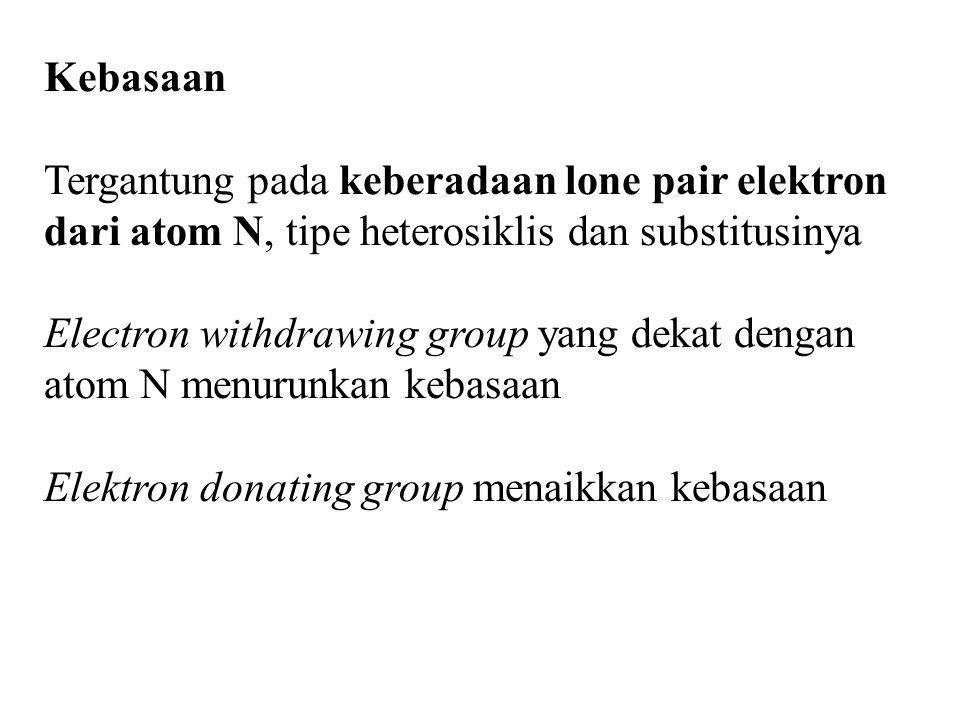 Kebasaan Tergantung pada keberadaan lone pair elektron dari atom N, tipe heterosiklis dan substitusinya Electron withdrawing group yang dekat dengan a