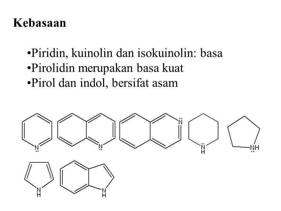 Kebasaan Piridin, kuinolin dan isokuinolin: basa Pirolidin merupakan basa kuat Pirol dan indol, bersifat asam