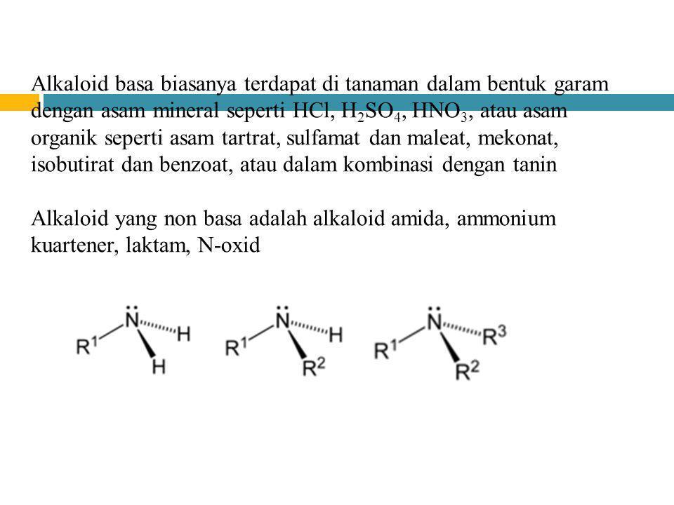 Alkaloid basa biasanya terdapat di tanaman dalam bentuk garam dengan asam mineral seperti HCl, H 2 SO 4, HNO 3, atau asam organik seperti asam tartrat