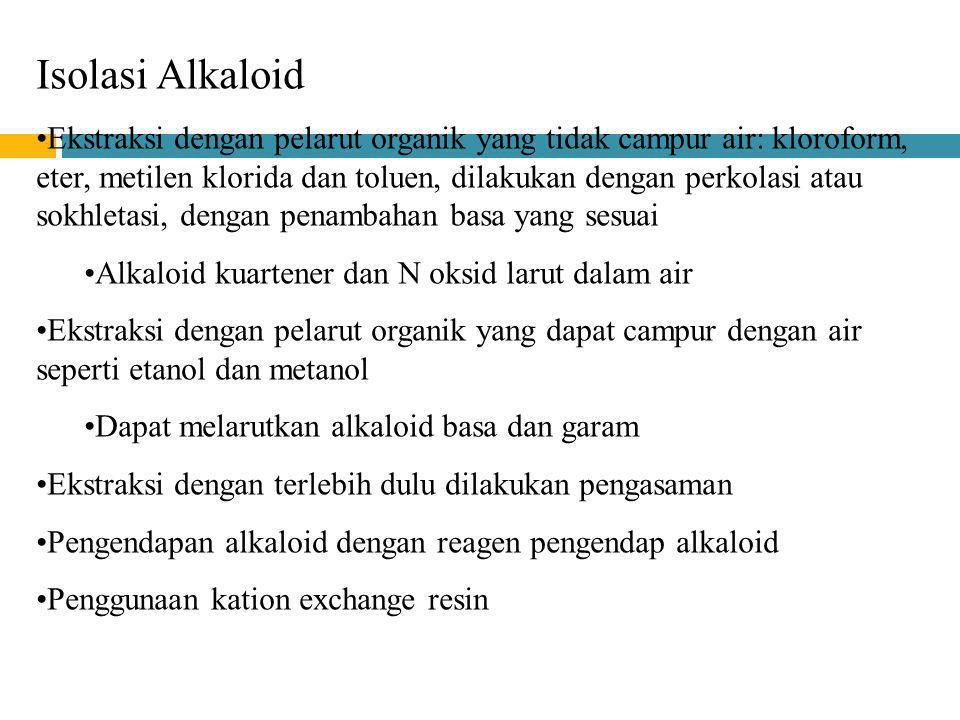 Isolasi Alkaloid Ekstraksi dengan pelarut organik yang tidak campur air: kloroform, eter, metilen klorida dan toluen, dilakukan dengan perkolasi atau
