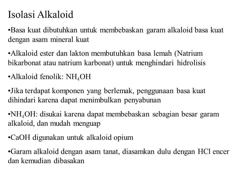 Isolasi Alkaloid Basa kuat dibutuhkan untuk membebaskan garam alkaloid basa kuat dengan asam mineral kuat Alkaloid ester dan lakton membutuhkan basa l
