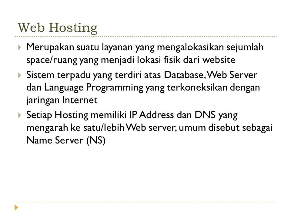  Merupakan suatu layanan yang mengalokasikan sejumlah space/ruang yang menjadi lokasi fisik dari website  Sistem terpadu yang terdiri atas Database, Web Server dan Language Programming yang terkoneksikan dengan jaringan Internet  Setiap Hosting memiliki IP Address dan DNS yang mengarah ke satu/lebih Web server, umum disebut sebagai Name Server (NS) Web Hosting