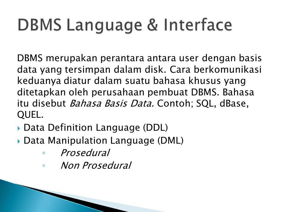 DBMS merupakan perantara antara user dengan basis data yang tersimpan dalam disk. Cara berkomunikasi keduanya diatur dalam suatu bahasa khusus yang di