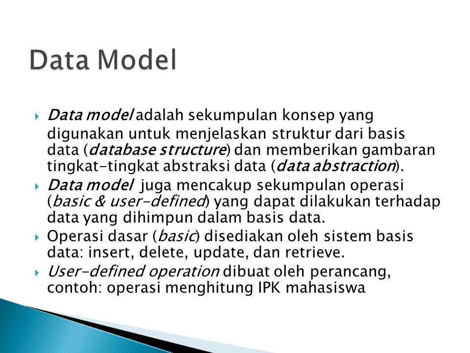  Data model adalah sekumpulan konsep yang digunakan untuk menjelaskan struktur dari basis data (database structure) dan memberikan gambaran tingkat-t