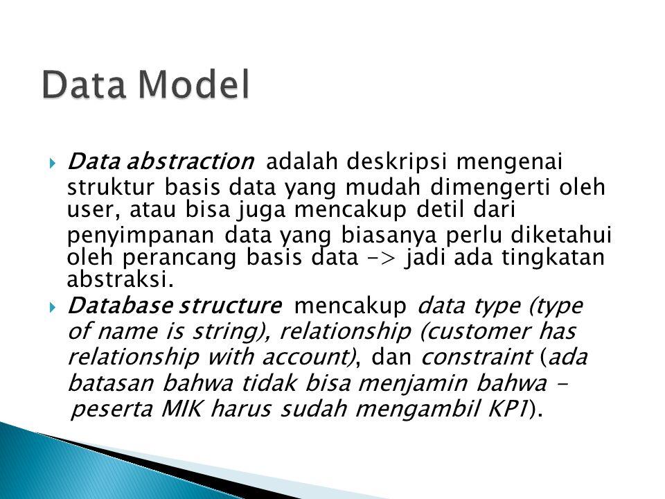  Data abstraction adalah deskripsi mengenai struktur basis data yang mudah dimengerti oleh user, atau bisa juga mencakup detil dari penyimpanan data