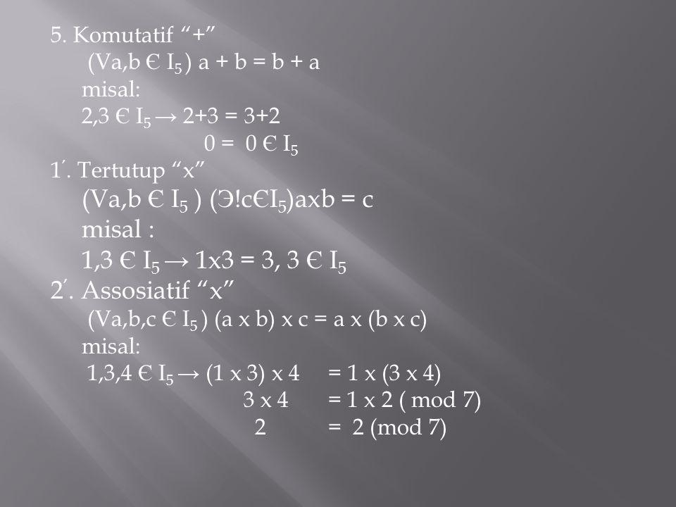 "5. Komutatif ""+"" (Va,b Є I 5 ) a + b = b + a misal: 2,3 Є I 5 → 2+3 = 3+2 0 = 0 Є I 5 1 '. Tertutup ""x"" (Va,b Є I 5 ) ( Э !c Є I 5 )axb = c misal : 1,"