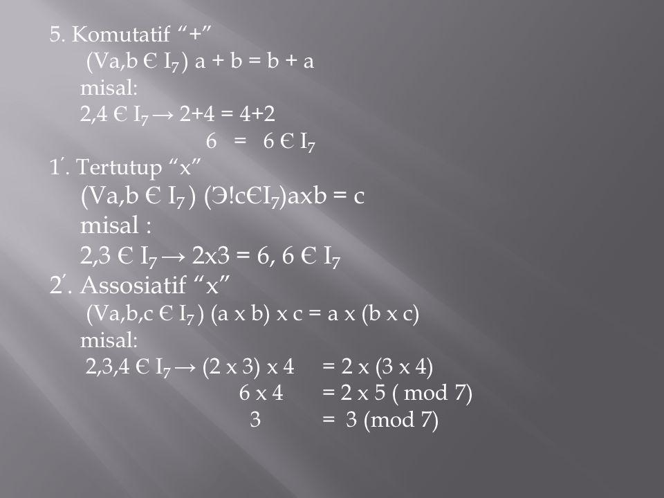 "5. Komutatif ""+"" (Va,b Є I 7 ) a + b = b + a misal: 2,4 Є I 7 → 2+4 = 4+2 6 = 6 Є I 7 1 '. Tertutup ""x"" (Va,b Є I 7 ) ( Э !c Є I 7 )axb = c misal : 2,"