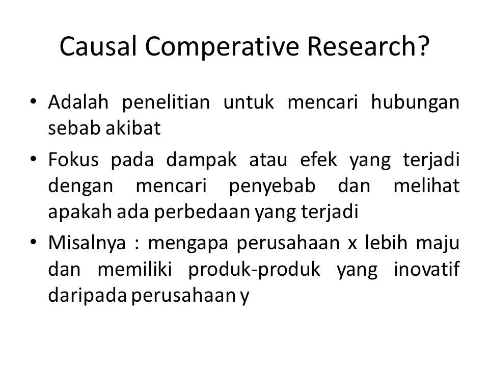 Causal Comperative Research? Adalah penelitian untuk mencari hubungan sebab akibat Fokus pada dampak atau efek yang terjadi dengan mencari penyebab da