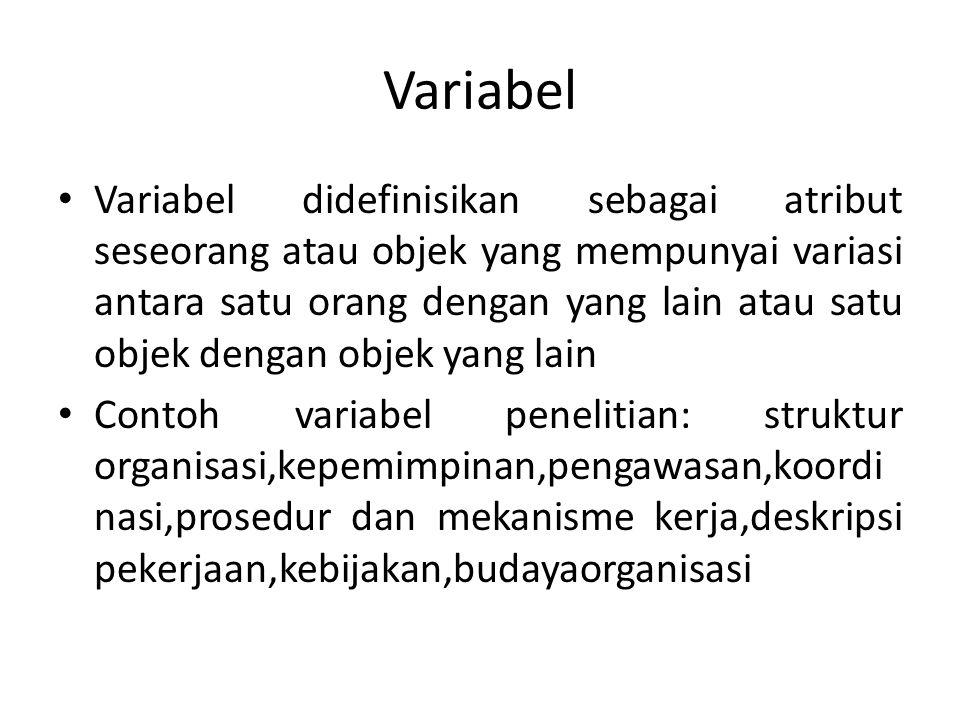 Variabel Terikat dan Bebas Variabel Independen (bebas) adalah variabel yang mempengaruhi atau yang menjadi sebab perubahan atau timbulnya variabel dependen (terikat) Variabel dependen (terikat) adalah variabel yang dipengaruhi atau yang menjadi akibat karena adanya variabel bebas Contoh Jika seorang peneliti ingin mengkaji hubungan antara dua variabel, misalnya variabel waktu untuk belajar dan prestasi belajarnya Banyak sedikitnya waktu belajar yang dipakai oleh pembelajar diidentifikasikan sebagai variabel bebas, sedangkan prestasi belajar sebagai variabel terikat