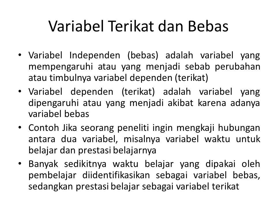 Variabel Terikat dan Bebas Variabel Independen (bebas) adalah variabel yang mempengaruhi atau yang menjadi sebab perubahan atau timbulnya variabel dep