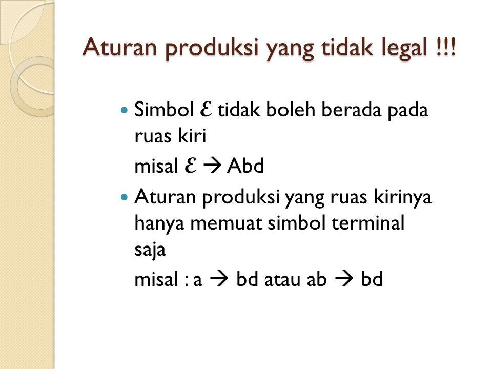 Aturan produksi yang tidak legal !!! Simbol E tidak boleh berada pada ruas kiri misal E  Abd Aturan produksi yang ruas kirinya hanya memuat simbol te