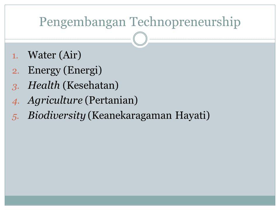 Pengembangan Technopreneurship 1. Water (Air) 2. Energy (Energi) 3. Health (Kesehatan) 4. Agriculture (Pertanian) 5. Biodiversity (Keanekaragaman Haya