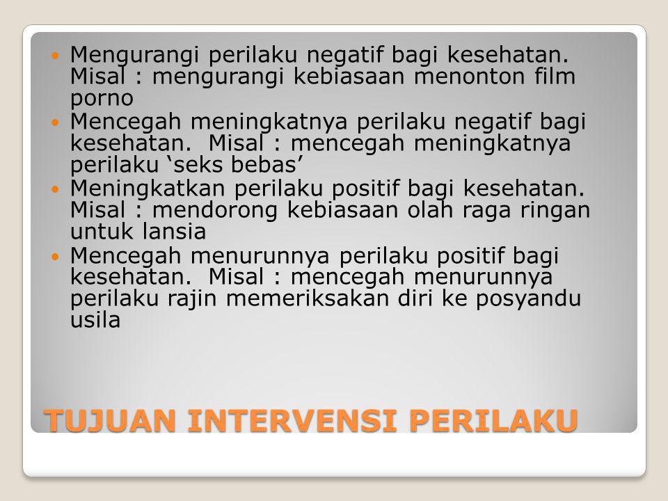 TUJUAN INTERVENSI PERILAKU Mengurangi perilaku negatif bagi kesehatan.
